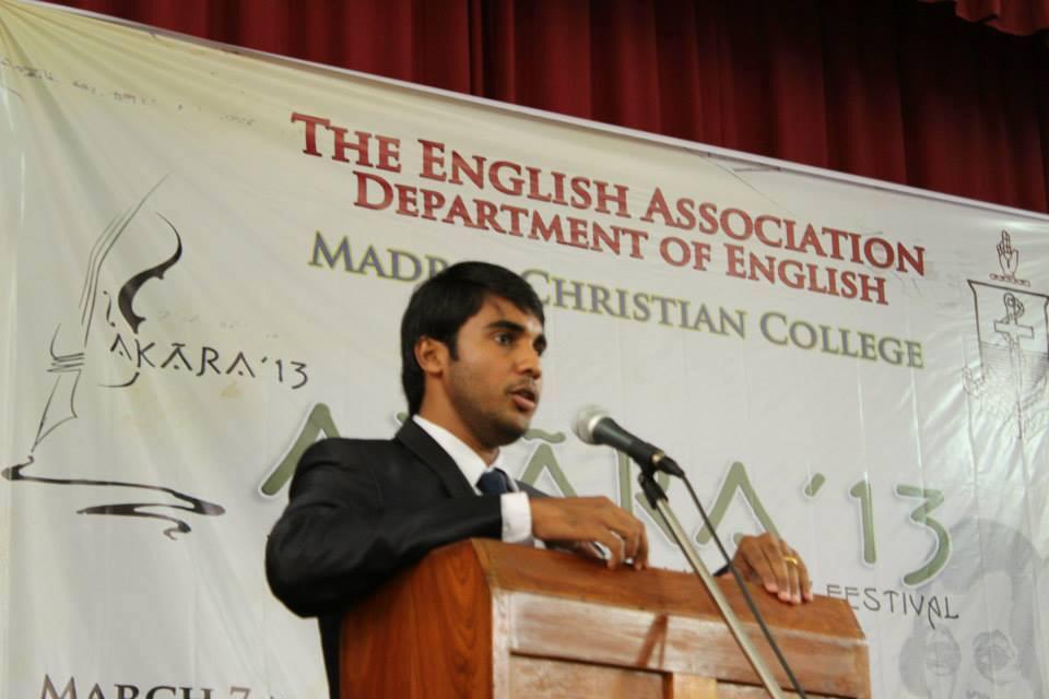 Chief Guest and Speaker- Global exposure and Education by department of English at MCC, Chennai